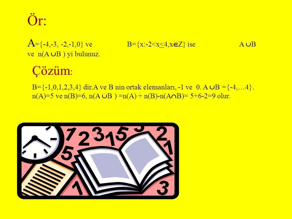 BİRLEŞİM : A veya B kümelerinin elemanlarından oluşan kümeye A ile B' nin birleşim kümesi denir ve ile gösterilir.