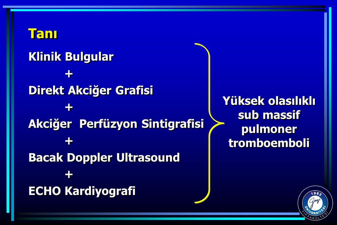 Tanı Klinik Bulgular + Direkt Akciğer Grafisi + Akciğer Perfüzyon Sintigrafisi + Bacak Doppler Ultrasound + ECHO Kardiyografi Klinik Bulgular + Direkt Akciğer Grafisi + Akciğer Perfüzyon Sintigrafisi + Bacak Doppler Ultrasound + ECHO Kardiyografi Yüksek olasılıklı sub massif pulmoner tromboemboli