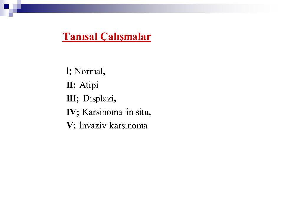I; Normal, II; Atipi III; Displazi, IV; Karsinoma in situ, V; İnvaziv karsinoma Tanısal Çalışmalar