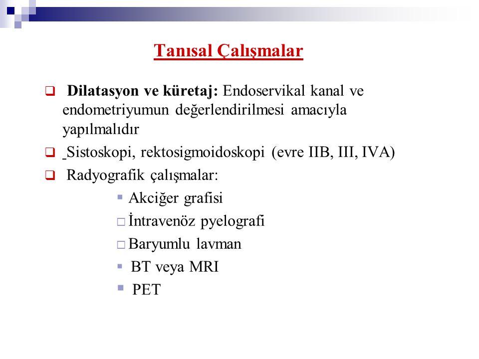 Tanısal Çalışmalar  Dilatasyon ve küretaj: Endoservikal kanal ve endometriyumun değerlendirilmesi amacıyla yapılmalıdır  Sistoskopi, rektosigmoidosk