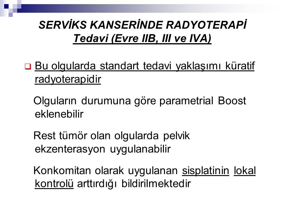 SERVİKS KANSERİNDE RADYOTERAPİ Tedavi (Evre IIB, III ve IVA)  Bu olgularda standart tedavi yaklaşımı küratif radyoterapidir Olguların durumuna göre p