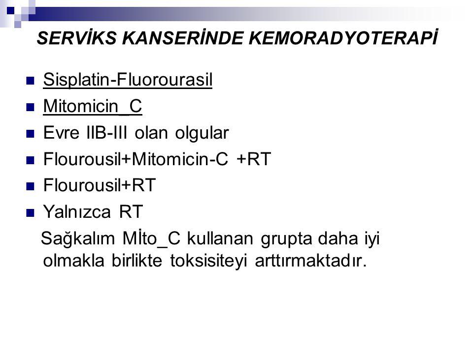 SERVİKS KANSERİNDE KEMORADYOTERAPİ Sisplatin-Fluorourasil Mitomicin_C Evre IIB-III olan olgular Flourousil+Mitomicin-C +RT Flourousil+RT Yalnızca RT S