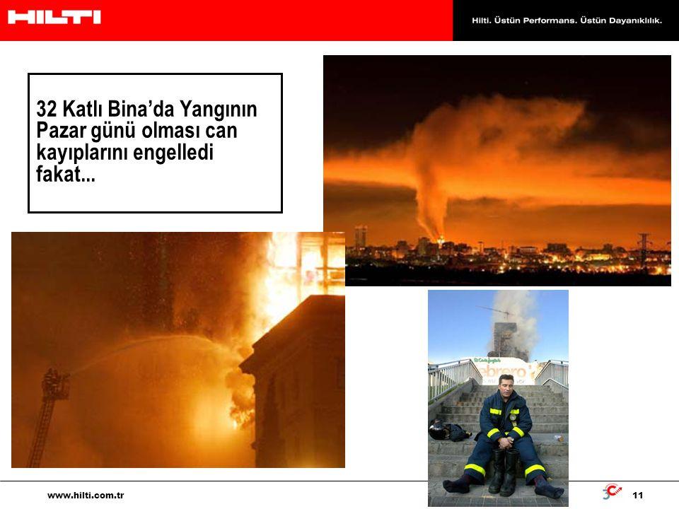 11 www.hilti.com.tr 32 Katlı Bina'da Yangının Pazar günü olması can kayıplarını engelledi fakat...
