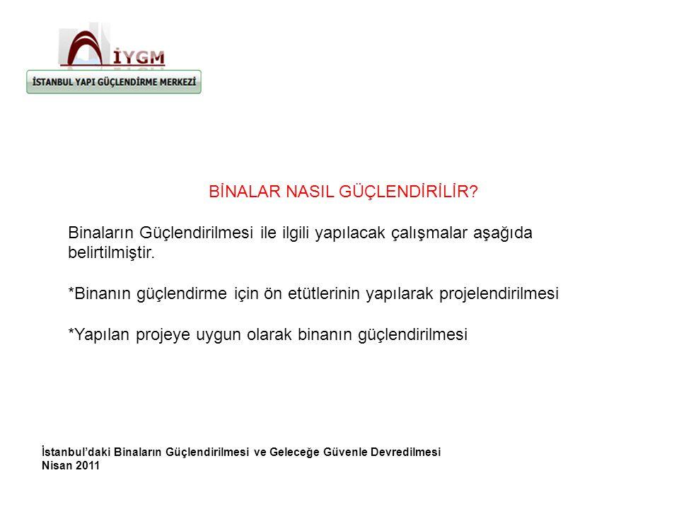 İstanbul'daki Binaların Güçlendirilmesi ve Geleceğe Güvenle Devredilmesi Nisan 2011 BİNALAR NASIL GÜÇLENDİRİLİR.