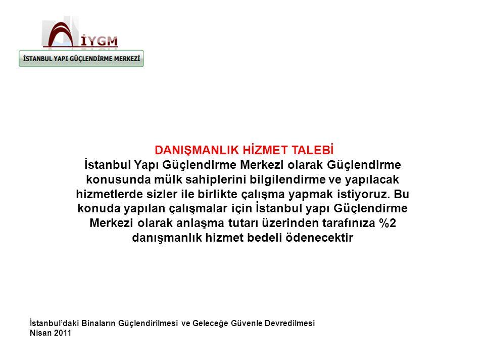 İstanbul'daki Binaların Güçlendirilmesi ve Geleceğe Güvenle Devredilmesi Nisan 2011 DANIŞMANLIK HİZMET TALEBİ İstanbul Yapı Güçlendirme Merkezi olarak Güçlendirme konusunda mülk sahiplerini bilgilendirme ve yapılacak hizmetlerde sizler ile birlikte çalışma yapmak istiyoruz.