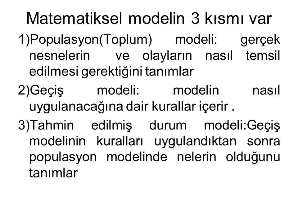 Matematiksel modelin 3 kısmı var 1)Populasyon(Toplum) modeli: gerçek nesnelerin ve olayların nasıl temsil edilmesi gerektiğini tanımlar 2)Geçiş modeli