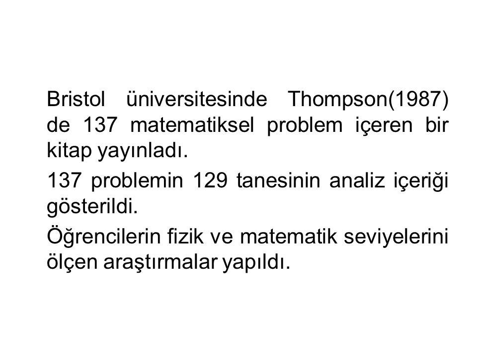Bristol üniversitesinde Thompson(1987) de 137 matematiksel problem içeren bir kitap yayınladı. 137 problemin 129 tanesinin analiz içeriği gösterildi.