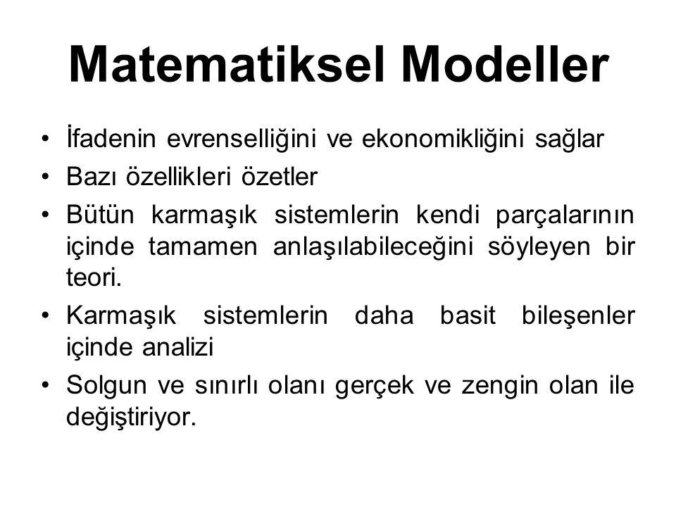 Matematiksel Modeller İfadenin evrenselliğini ve ekonomikliğini sağlar Bazı özellikleri özetler Bütün karmaşık sistemlerin kendi parçalarının içinde t