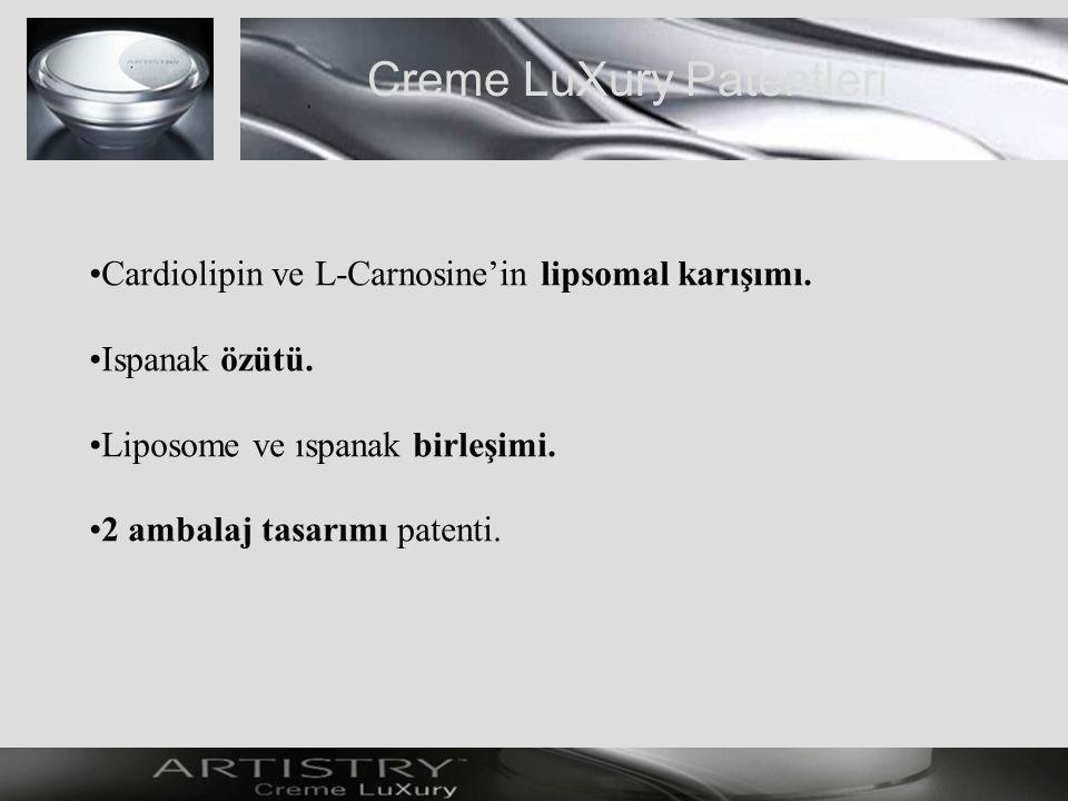Creme LuXury Patentleri Cardiolipin ve L-Carnosine'in lipsomal karışımı.