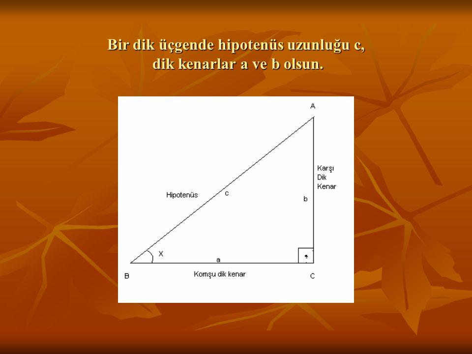 Bir dik üçgende hipotenüs uzunluğu c, dik kenarlar a ve b olsun.