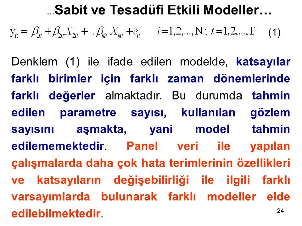 24 … Sabit ve Tesadüfi Etkili Modeller… Denklem (1) ile ifade edilen modelde, katsayılar farklı birimler için farklı zaman dönemlerinde farklı değerler almaktadır.