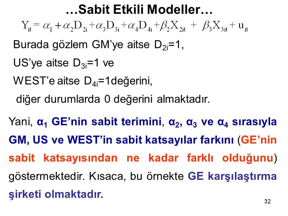 32 …Sabit Etkili Modeller… Burada gözlem GM'ye aitse D 2i =1, US'ye aitse D 3i =1 ve WEST'e aitse D 4i =1değerini, diğer durumlarda 0 değerini almaktadır.