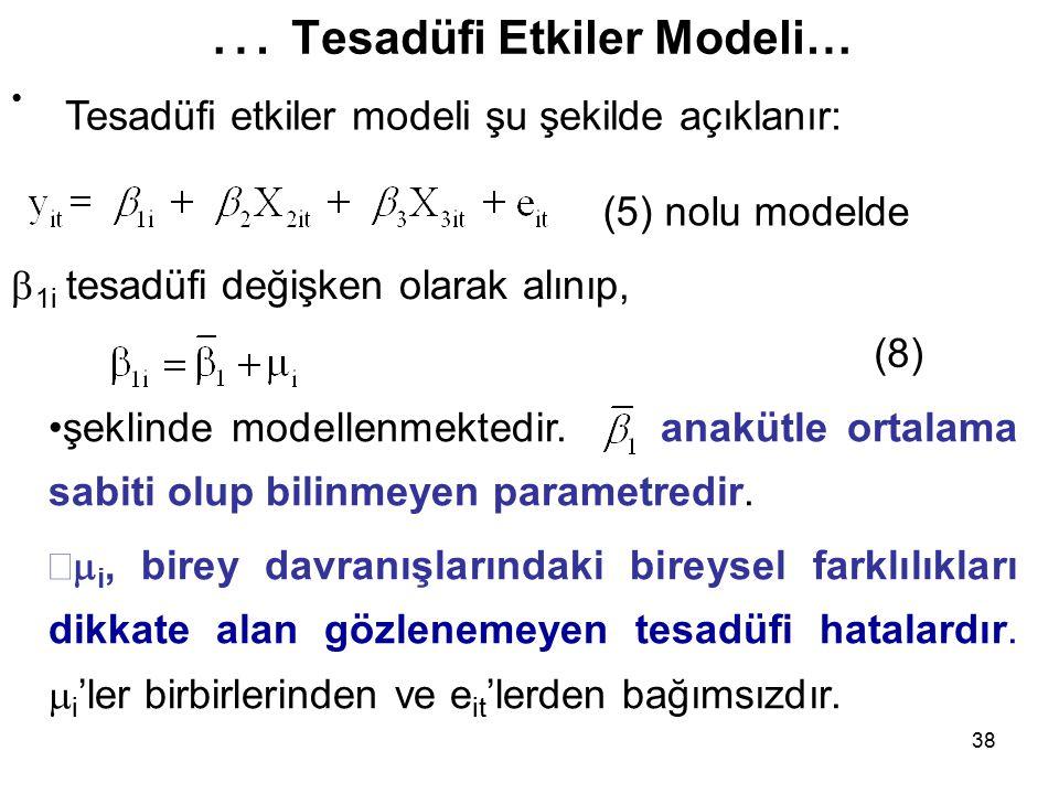 38 … Tesadüfi Etkiler Modeli…  1i tesadüfi değişken olarak alınıp, (8) (5) nolu modelde şeklinde modellenmektedir.