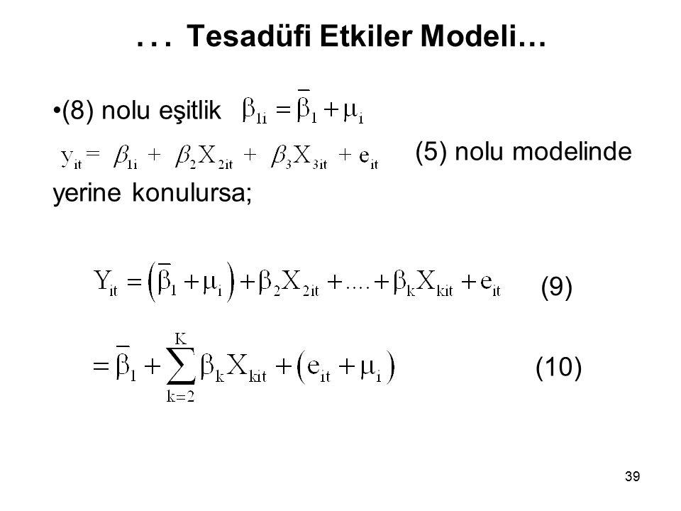 39 … Tesadüfi Etkiler Modeli… (8) nolu eşitlik (5) nolu modelinde yerine konulursa; (10) (9)