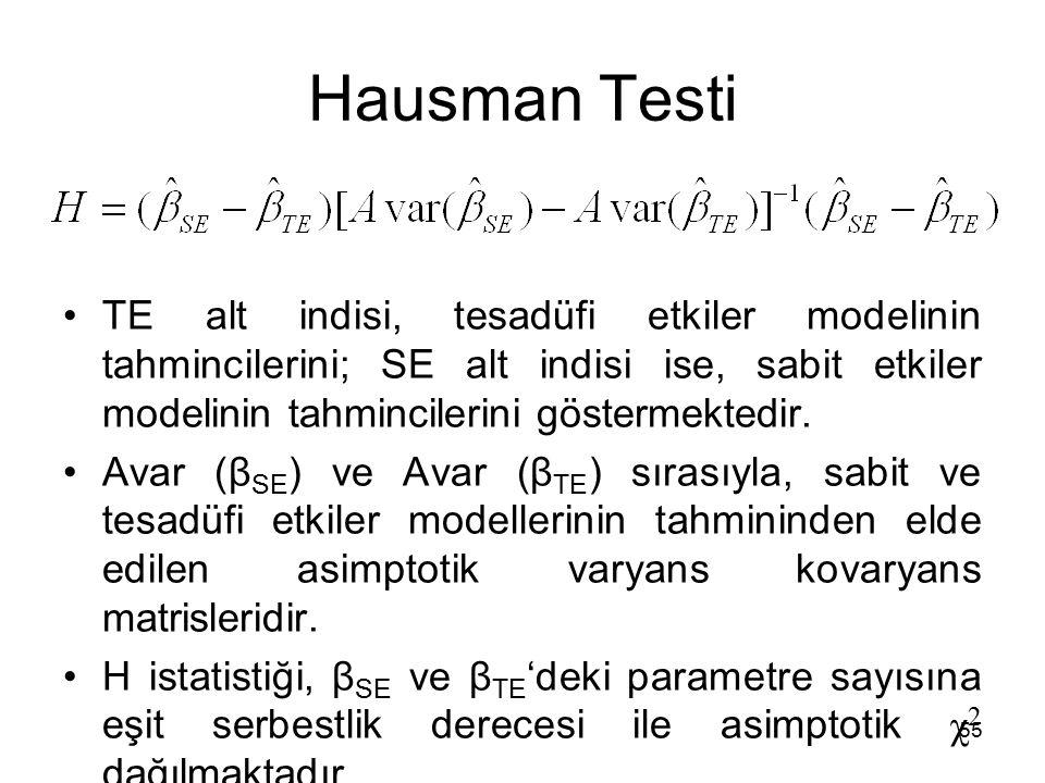 Hausman Testi TE alt indisi, tesadüfi etkiler modelinin tahmincilerini; SE alt indisi ise, sabit etkiler modelinin tahmincilerini göstermektedir.