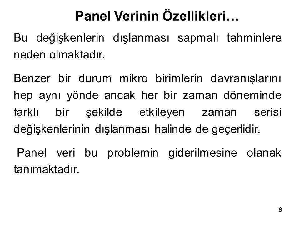 67 …Panel Veri Yaklaşımı İçin Bir Örnek… Ayrıca her bir ülkenin Türkiye'ye göre ekonomik büyümesini karşılaştırmak amacıyla ülkeler (11) nolu modele kukla değişken olarak eklenmiştir.