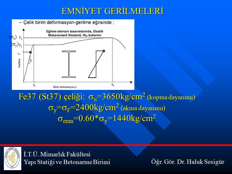 İ.T.Ü. Mimarlık Fakültesi Yapı Statiği ve Betonarme Birimi EMNİYET GERİLMELERİ Öğr. Gör. Dr. Haluk Sesigür  y )  u ) Fe37 (St37) çeliği:  u =3650