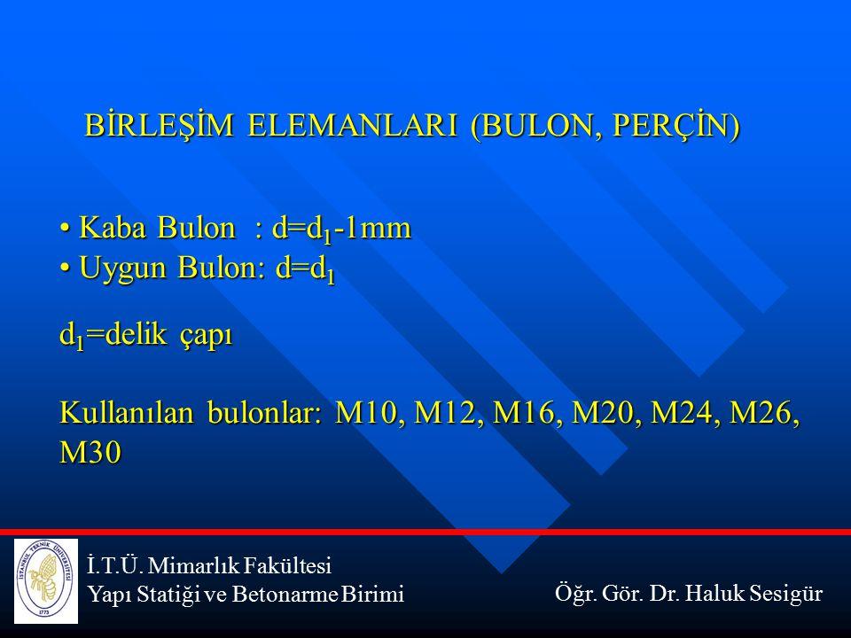İ.T.Ü. Mimarlık Fakültesi Yapı Statiği ve Betonarme Birimi Öğr. Gör. Dr. Haluk Sesigür BİRLEŞİM ELEMANLARI (BULON, PERÇİN) Kaba Bulon : d=d 1 -1mm Kab