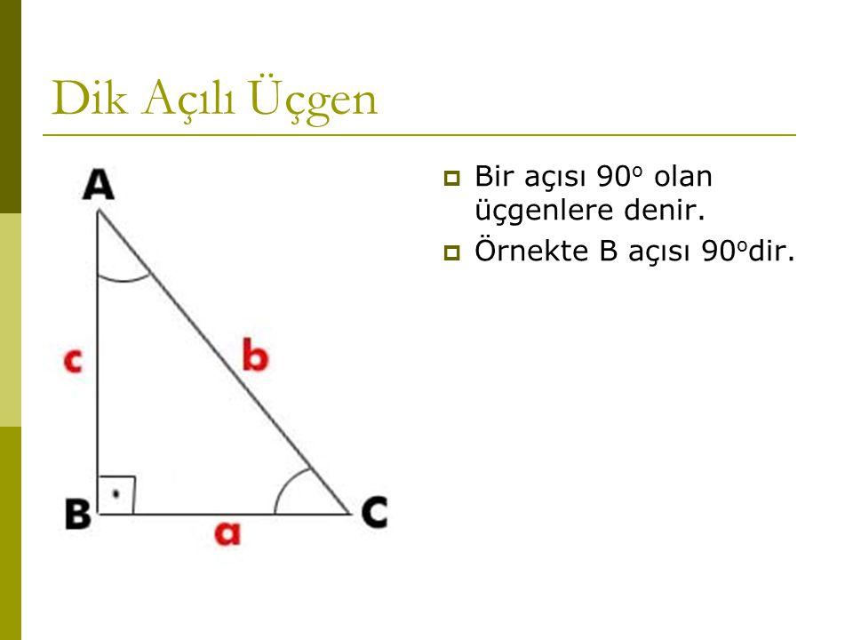 Dik Açılı Üçgen  Bir açısı 90 o olan üçgenlere denir.  Örnekte B açısı 90 o dir.