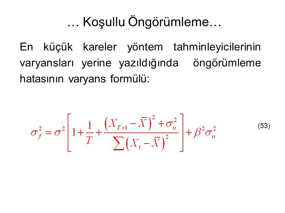 En küçük kareler yöntem tahminleyicilerinin varyansları yerine yazıldığında öngörümleme hatasının varyans formülü: (53) … Koşullu Öngörümleme…