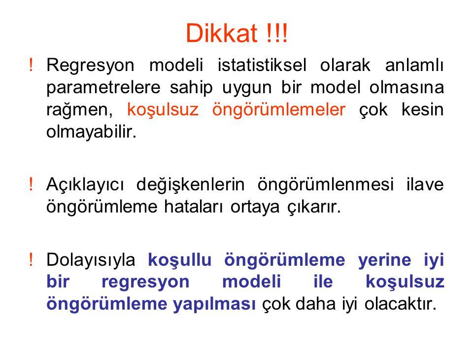 Dikkat !!! !Regresyon modeli istatistiksel olarak anlamlı parametrelere sahip uygun bir model olmasına rağmen, koşulsuz öngörümlemeler çok kesin olmay