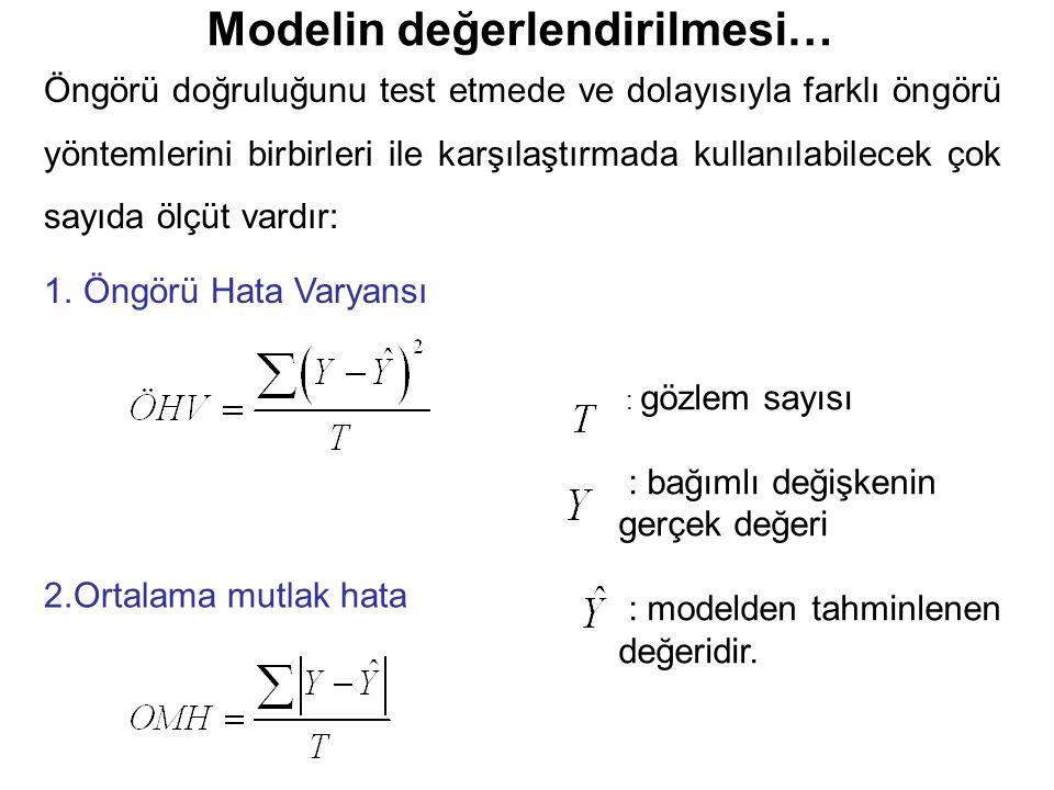 Modelin değerlendirilmesi… Öngörü doğruluğunu test etmede ve dolayısıyla farklı öngörü yöntemlerini birbirleri ile karşılaştırmada kullanılabilecek çok sayıda ölçüt vardır: : gözlem sayısı : bağımlı değişkenin gerçek değeri : modelden tahminlenen değeridir.