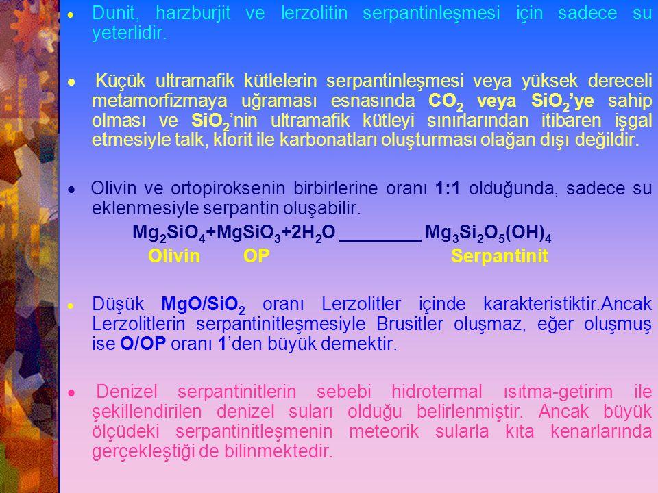 SERPANTİNLEŞME  Peridotitlerin serpantinleşmesi su ile magmatik minerallerin reaksiyonu sonucudur.  Serpantin minerolojik olarak Lizardit, klinokriz