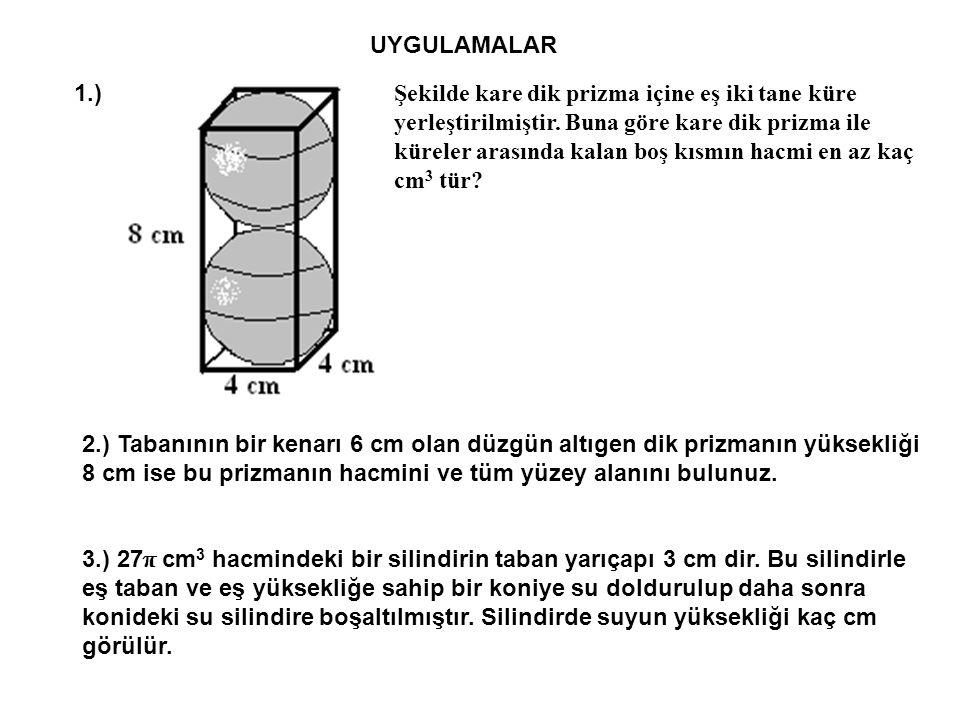 UYGULAMALAR 1.) Şekilde kare dik prizma içine eş iki tane küre yerleştirilmiştir.