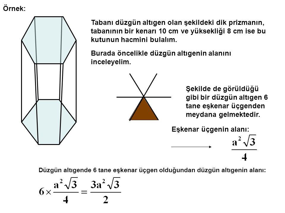 Örnek: Tabanı düzgün altıgen olan şekildeki dik prizmanın, tabanının bir kenarı 10 cm ve yüksekliği 8 cm ise bu kutunun hacmini bulalım.