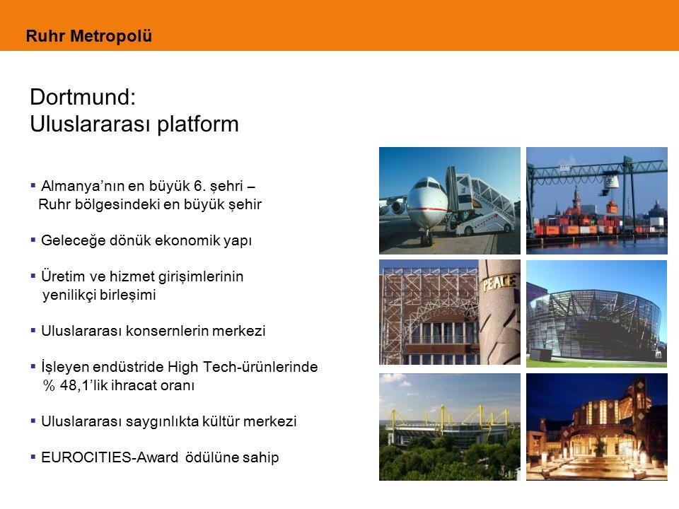 Ruhr Metropolü Dortmund: Uluslararası platform  Almanya'nın en büyük 6. şehri – Ruhr bölgesindeki en büyük şehir  Geleceğe dönük ekonomik yapı  Üre