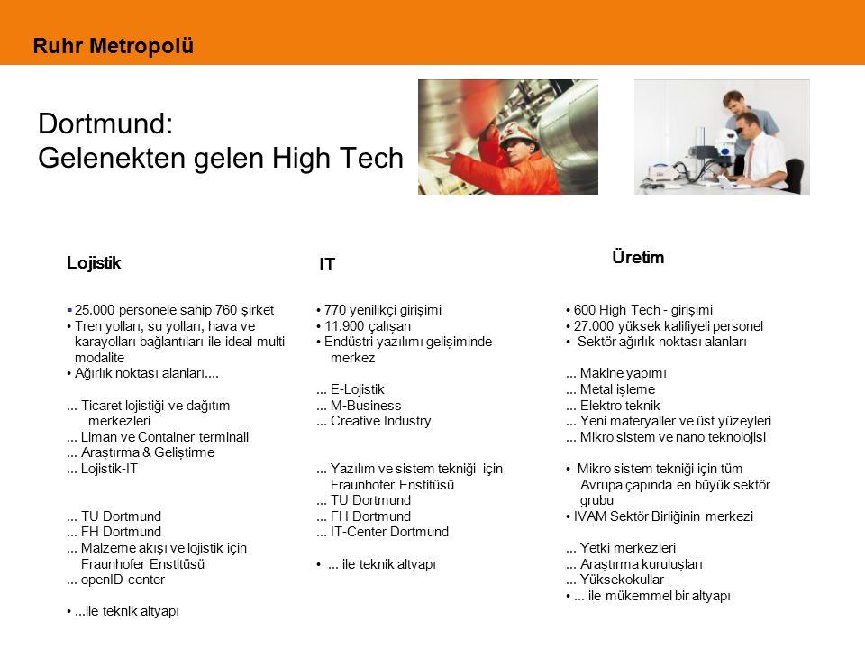 Ruhr Metropolü Dortmund: Gelenekten gelen High Tech Lojistik IT Üretim  25.000 personele sahip 760 şirket Tren yolları, su yolları, hava ve karayolları bağlantıları ile ideal multi modalite Ağırlık noktası alanları.......