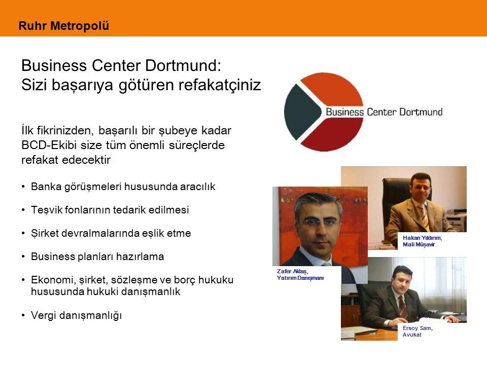İlk fikrinizden, başarılı bir şubeye kadar BCD-Ekibi size tüm önemli süreçlerde refakat edecektir Banka görüşmeleri hususunda aracılık Teşvik fonlarının tedarik edilmesi Şirket devralmalarında eşlik etme Business planları hazırlama Ekonomi, şirket, sözleşme ve borç hukuku hususunda hukuki danışmanlık Vergi danışmanlığı Business Center Dortmund: Sizi başarıya götüren refakatçiniz Ruhr Metropolü Zafer Aktaş, Yatırım Danışmanı Ersoy Sam, Avukat Hakan Yıldırım, Mali Müşavir