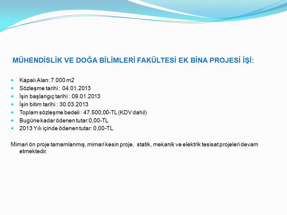 MÜHENDİSLİK VE DOĞA BİLİMLERİ FAKÜLTESİ EK BİNA PROJESİ İŞİ: Kapalı Alan: 7.000 m2 Sözleşme tarihi : 04.01.2013 İşin başlangıç tarihi : 09.01.2013 İşin bitim tarihi : 30.03.2013 Toplam sözleşme bedeli : 47.500,00-TL (KDV dahil) Bugüne kadar ödenen tutar:0,00-TL 2013 Yılı içinde ödenen tutar: 0,00-TL Mimari ön proje tamamlanmış, mimari kesin proje, statik, mekanik ve elektrik tesisat projeleri devam etmektedir.