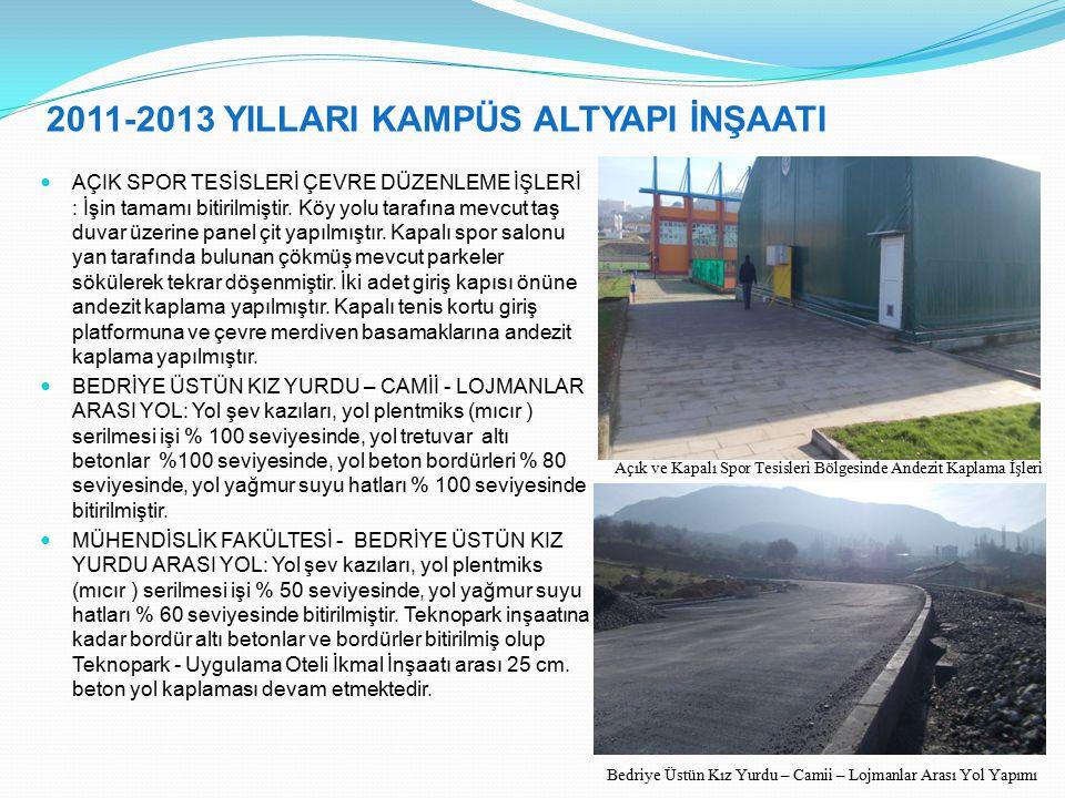 2011-2013 YILLARI KAMPÜS ALTYAPI İNŞAATI AÇIK SPOR TESİSLERİ ÇEVRE DÜZENLEME İŞLERİ : İşin tamamı bitirilmiştir. Köy yolu tarafına mevcut taş duvar üz