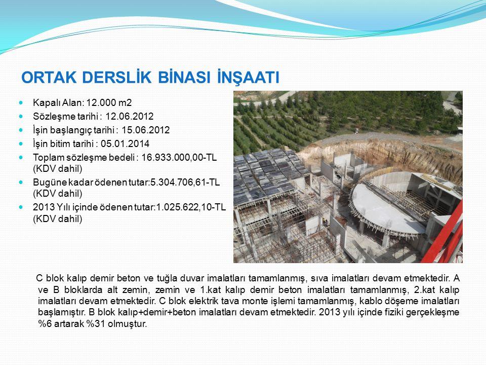ORTAK DERSLİK BİNASI İNŞAATI Kapalı Alan: 12.000 m2 Sözleşme tarihi : 12.06.2012 İşin başlangıç tarihi : 15.06.2012 İşin bitim tarihi : 05.01.2014 Toplam sözleşme bedeli : 16.933.000,00-TL (KDV dahil) Bugüne kadar ödenen tutar:5.304.706,61-TL (KDV dahil) 2013 Yılı içinde ödenen tutar:1.025.622,10-TL (KDV dahil) C blok kalıp demir beton ve tuğla duvar imalatları tamamlanmış, sıva imalatları devam etmektedir.