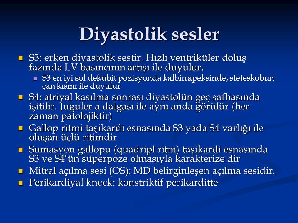 Diyastolik sesler S3: erken diyastolik sestir. Hızlı ventriküler doluş fazında LV basıncının artışı ile duyulur. S3: erken diyastolik sestir. Hızlı ve