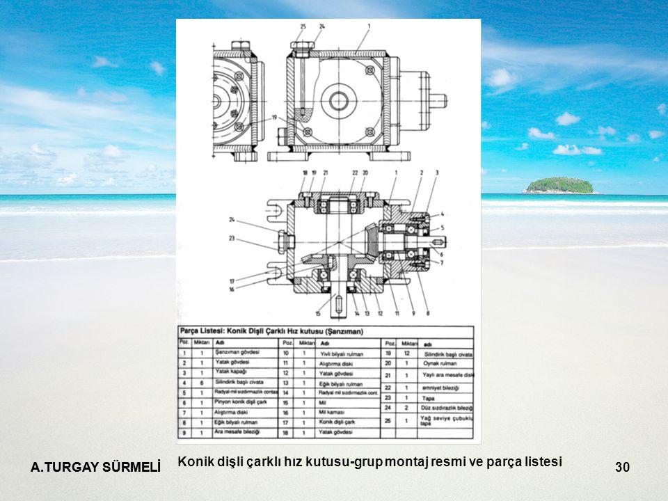 A.TURGAY SÜRMELİ 30 Konik dişli çarklı hız kutusu-grup montaj resmi ve parça listesi
