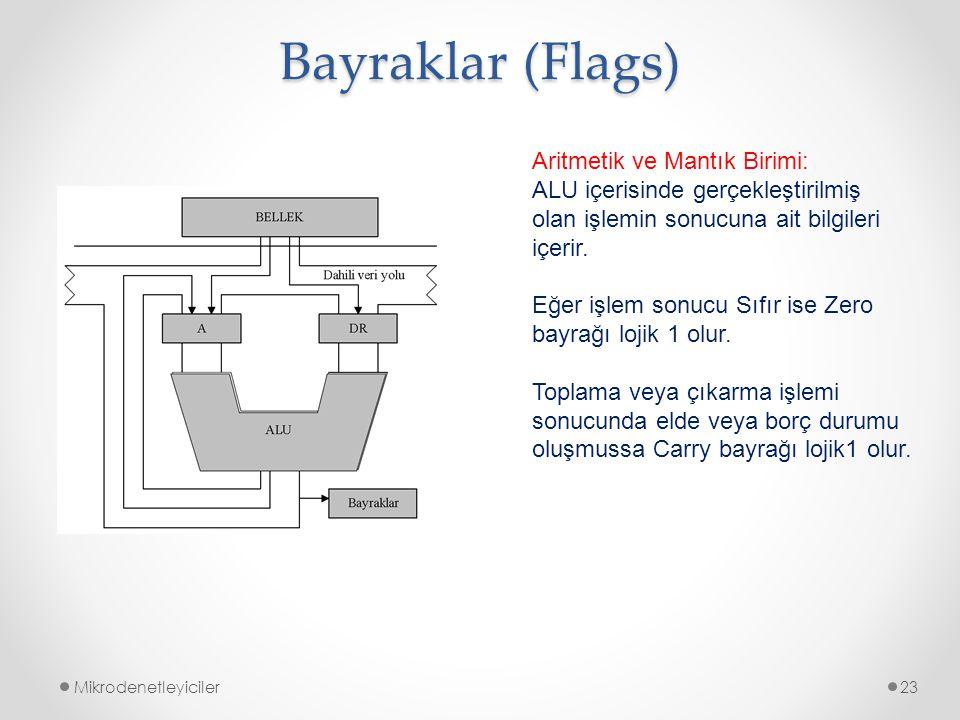 Bayraklar (Flags) Mikrodenetleyiciler23 Aritmetik ve Mantık Birimi: ALU içerisinde gerçekleştirilmiş olan işlemin sonucuna ait bilgileri içerir. Eğer