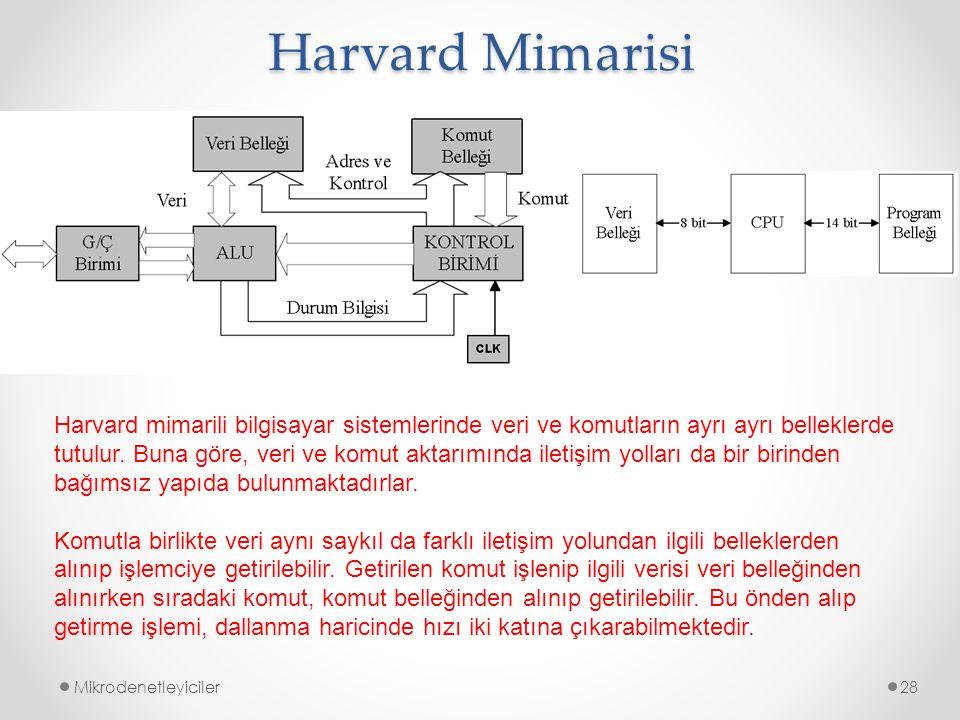 Harvard Mimarisi Mikrodenetleyiciler28 Harvard mimarili bilgisayar sistemlerinde veri ve komutların ayrı ayrı belleklerde tutulur. Buna göre, veri ve