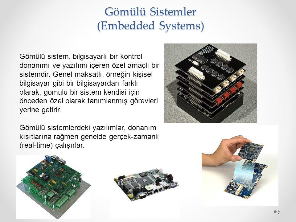 Gömülü Sistem Uygulamaları Mikrodenetleyiciler6 Banka ATM' leri Uçuş kontrol donanım/yazılımı ve uçak ve füzelerdeki diğer tümleşik sistemlerden oluşan havacılık elektroniği modülleri Cep telefonları Router gibi bilgisayar ağ ekipmanları Bilgisayar yazıcıları Fotokopi makineleri Termostat, klima ve güvenlik izleme sistemleri gibi ev otomasyonu ürünleri Hesap makineleri Mikro dalga fırınlar, çamaşır makinesi, televizyon setleri DVD oynatıcı/kaydedici gibi ev elektroniği ürünleri Tıbbi ekipmanlar Endüstriyel otomasyon ve izleme için PLC' ler