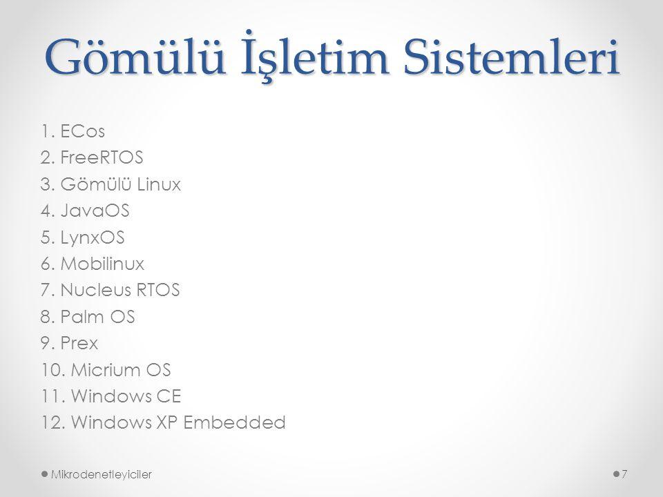 Gömülü İşletim Sistemleri 1. ECos 2. FreeRTOS 3. Gömülü Linux 4. JavaOS 5. LynxOS 6. Mobilinux 7. Nucleus RTOS 8. Palm OS 9. Prex 10. Micrium OS 11. W