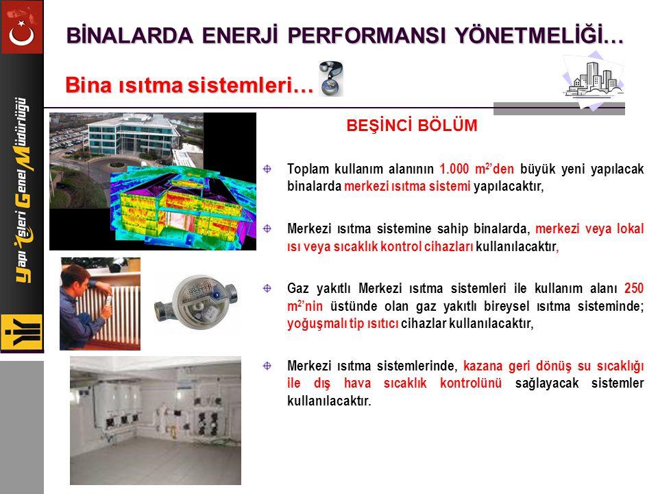 BİNALARDA ENERJİ PERFORMANSI YÖNETMELİĞİ… Bina ısıtma sistemleri… Toplam kullanım alanının 1.000 m 2 'den büyük yeni yapılacak binalarda merkezi ısıtm