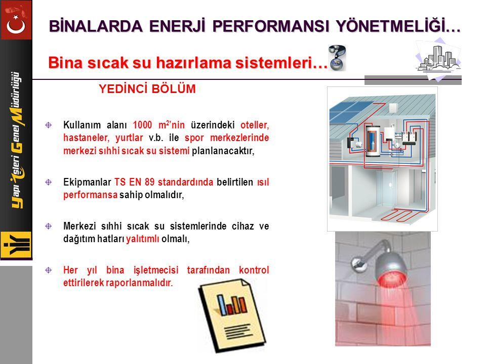 BİNALARDA ENERJİ PERFORMANSI YÖNETMELİĞİ… Bina sıcak su hazırlama sistemleri… Kullanım alanı 1000 m 2 'nin üzerindeki oteller, hastaneler, yurtlar v.b