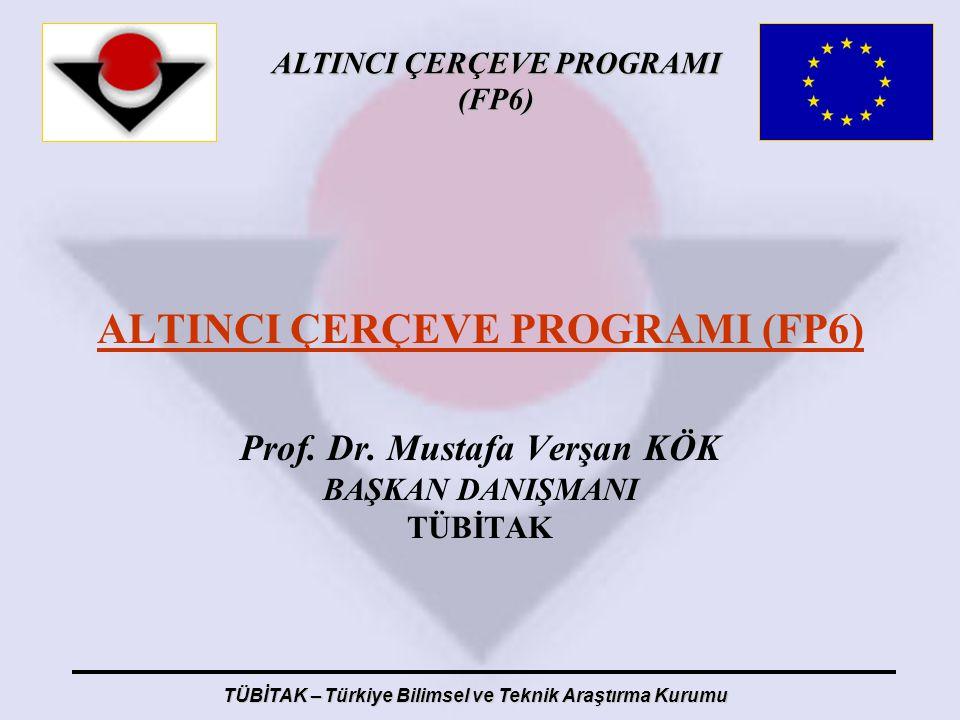 ALTINCI ÇERÇEVE PROGRAMI (FP6) TÜBİTAK – Türkiye Bilimsel ve Teknik Araştırma Kurumu ALTINCI ÇERÇEVE PROGRAMI (FP6) Prof. Dr. Mustafa Verşan KÖK BAŞKA