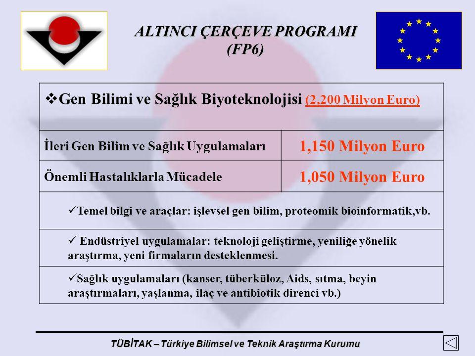 ALTINCI ÇERÇEVE PROGRAMI (FP6) TÜBİTAK – Türkiye Bilimsel ve Teknik Araştırma Kurumu  Gen Bilimi ve Sağlık Biyoteknolojisi (2,200 Milyon Euro) İleri