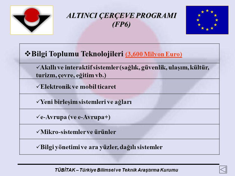 ALTINCI ÇERÇEVE PROGRAMI (FP6) TÜBİTAK – Türkiye Bilimsel ve Teknik Araştırma Kurumu  Bilgi Toplumu Teknolojileri (3,600 Milyon Euro) Akıllı ve inter