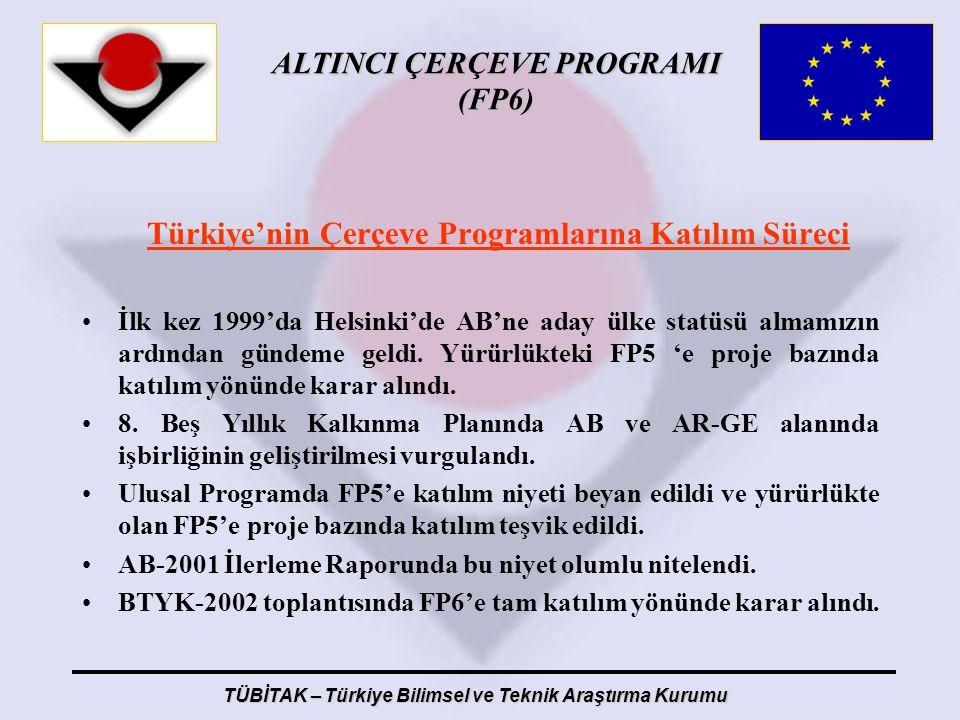 ALTINCI ÇERÇEVE PROGRAMI (FP6) TÜBİTAK – Türkiye Bilimsel ve Teknik Araştırma Kurumu Türkiye'nin Çerçeve Programlarına Katılım Süreci İlk kez 1999'da