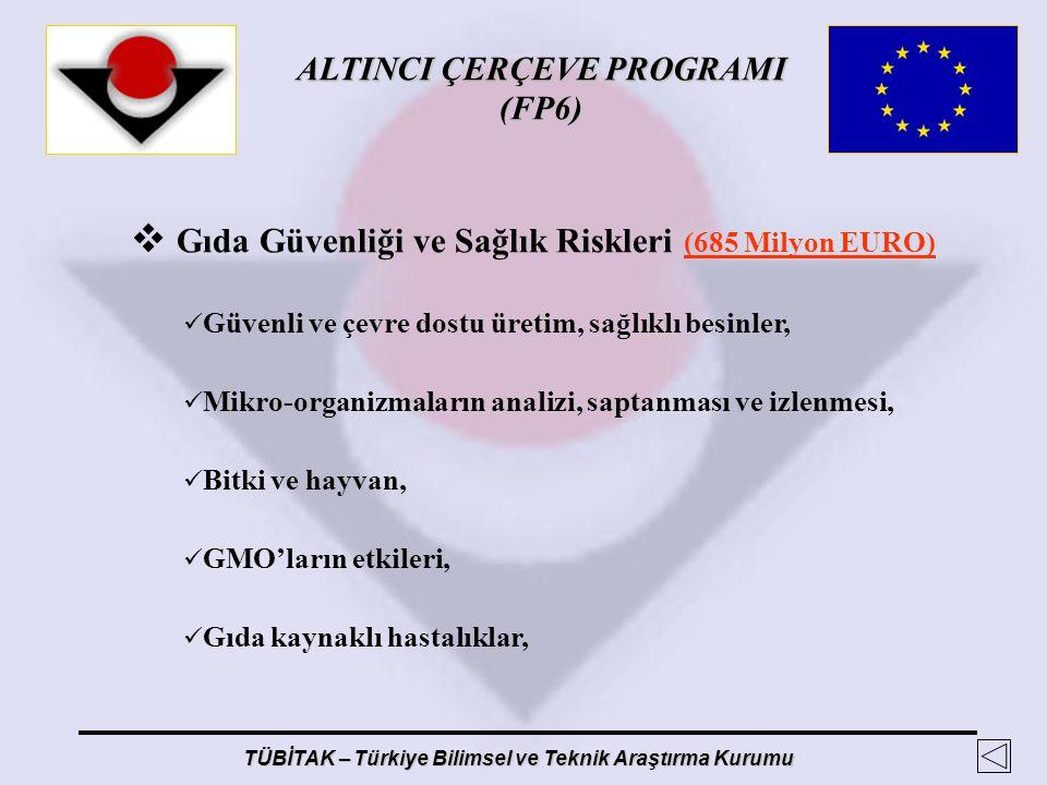 ALTINCI ÇERÇEVE PROGRAMI (FP6) TÜBİTAK – Türkiye Bilimsel ve Teknik Araştırma Kurumu  Gıda Güvenliği ve Sağlık Riskleri (685 Milyon EURO) Güvenli ve