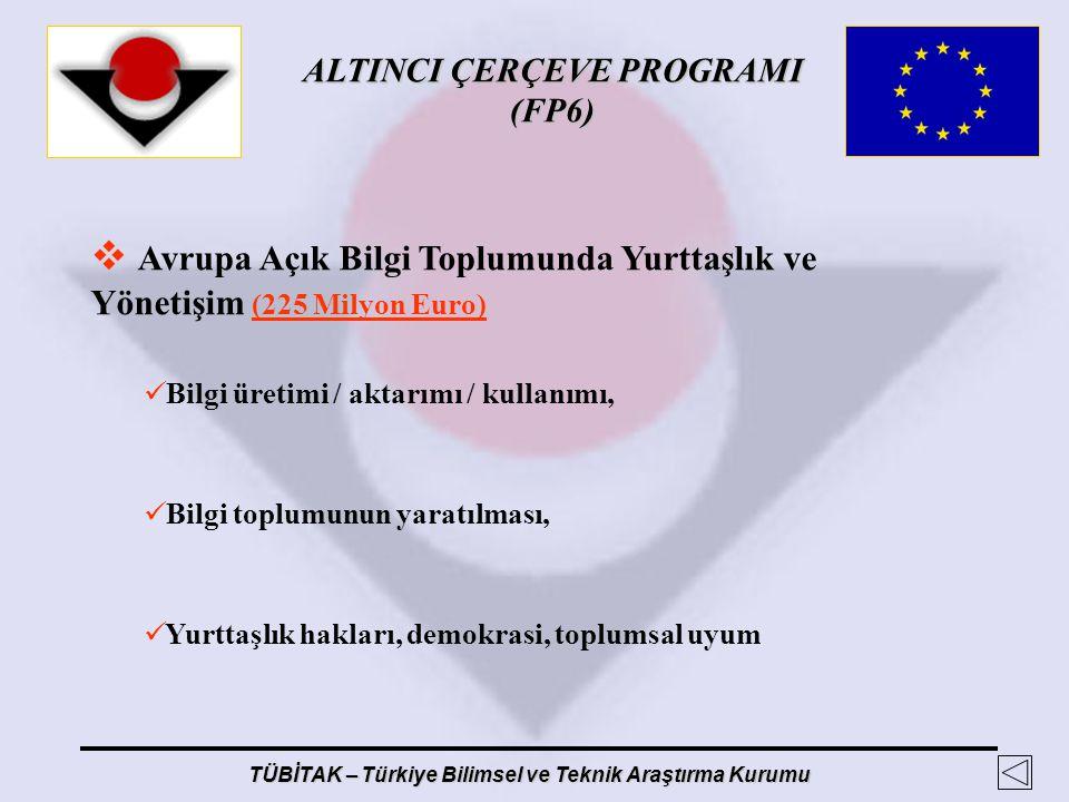 ALTINCI ÇERÇEVE PROGRAMI (FP6) TÜBİTAK – Türkiye Bilimsel ve Teknik Araştırma Kurumu  Avrupa Açık Bilgi Toplumunda Yurttaşlık ve Yönetişim (225 Milyo