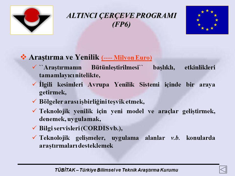 ALTINCI ÇERÇEVE PROGRAMI (FP6) TÜBİTAK – Türkiye Bilimsel ve Teknik Araştırma Kurumu  Araştırma ve Yenilik (---- Milyon Euro) ``Araştırmanın Bütünleş